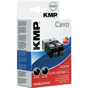 KMP C89D - Pack de 2 Cartouches d'encre noir compatible Canon PGI-550 PGBK