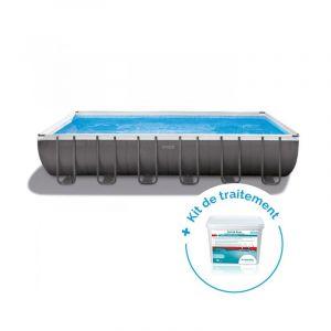 Intex Pack Piscine tubulaire Ultra Silver 7.32 x 3.66 x 1.32 m + Traitement pour piscines < 30 m³
