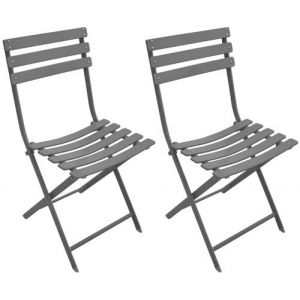 Proloisirs Chaise de jardin pliante en acier couleur taupe NONZA