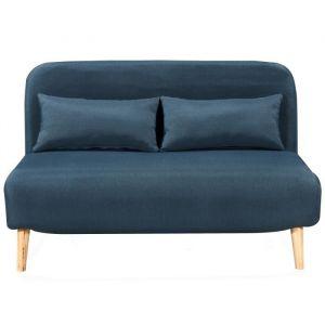 BEDZ Banquette BZ 2 places - Tissu bleu pétrole - Scandinave - L 132 x P 90 cm - BZ - 2 places - Tissu bleu pétrole - Scandinave - Assise : L 132 x P 65 cm - Ferme