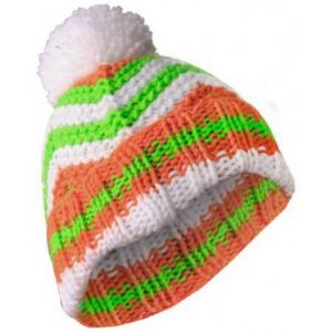 Masterdis Bonnet - pompon Blanc Orange Zig Zag