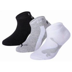 Puma Lot de trois paires de chaussettes pour basket Lifestyle pour enfant, Blanc/Noir/Gris, Taille 35-38  