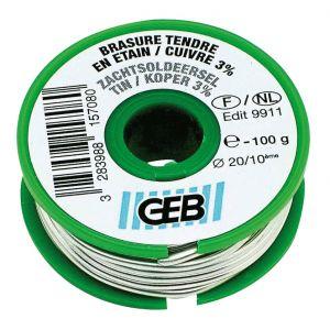 Geb Bobine Fil Soudure Etain/3% cuivre Ø2mm - 100g