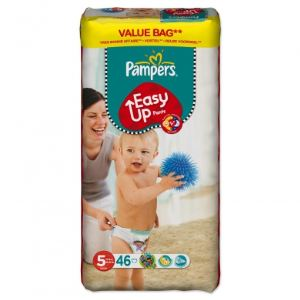 Pampers Easy Up taille 5 Junior (12-18 kg) - Format économique x 46 couches culottes