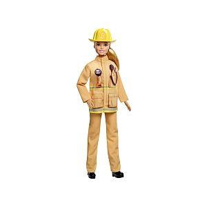 Mattel Poupée Barbie - Pompier Blonde en uniforme avec Casque - GFX29
