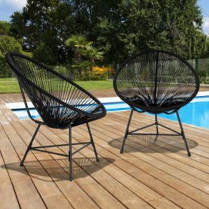 Idmarket Fauteuil de Jardin Izmir Noir x2 Design Oeuf avec Cordage Plastique