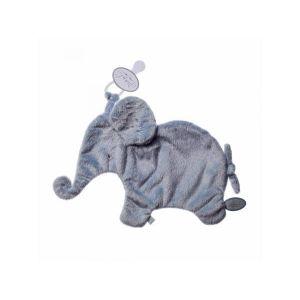 Dimpel Eléphant doudou attache tetine 27 cm - bleu