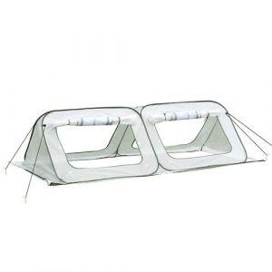 Outsunny Mini Serre Pop-up de Jardin - Serre à tomates - 4 fenêtres + 4 Portes zippées Enroulable - dim. 2,4L x 1,2l x 0,75H m - Sac Transport Inclus - PE Blanc Vert