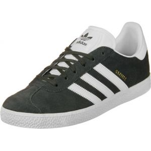 Adidas Gazelle, Baskets Mixte Enfant, Noir (Dark Grey Gris Heather Solid Grey/Footwear White/Gold Metallic 0), 38 2/3 EU
