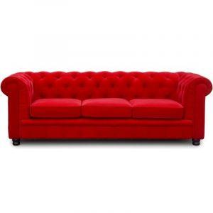 Canapé Chesterfield 3 places velours rouge