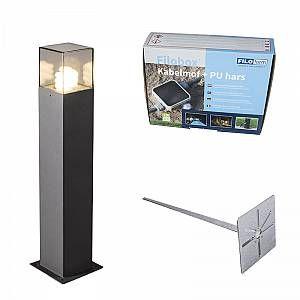 Qazqa Lampe extérieure P50 graphite avec piquet de terre et manchon de câble - Denmark