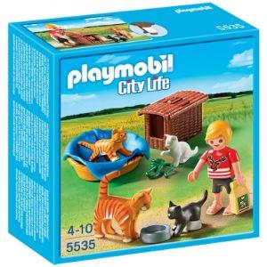 Playmobil 5535 City Life - Famille de chats avec corbeille