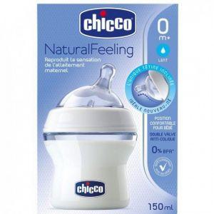 Chicco Biberon NaturalFeeling tétine inclinée 150 ml 0m+ flux lent