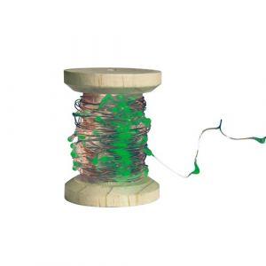 Bobine guirlande argentée 60 LED vertes (6m)