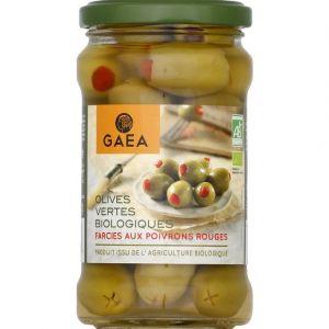 Gaea Olives vertes biologiques farcies aux poivrons rouges