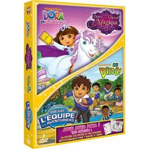 Coffret - Dora l'exploratrice : Dora et le Cheval Magique +  Go Diego ! : Diego et l'équipe des aventuriers