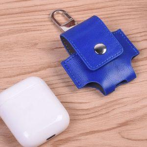 WeWoo Etui Casque / Ecouteurs bleu pour Apple AirPods Creative sans fil Bluetooth écouteurs PU en cuir sac de protection Anti perte de rangement avec crochet n'est pas inclus