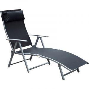 Outsunny Transat Chaise Longue Bain de Soleil Pliable Dossier inclinable Multi-Positions têtière fournie 137L x 64l x 101H cm métal époxy textilène Noir
