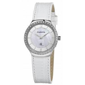 Orphelia Montre Femme - Quartz Analogique - Cadran Multicolore - Bracelet Cuir Blanc