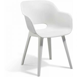 Allibert JARDIN Lot de 2 fauteuils Akola - Coque blanc - En résine de synthèse - Style contemporain - Dimensions : 56x55x80cm - A monter soi-même.