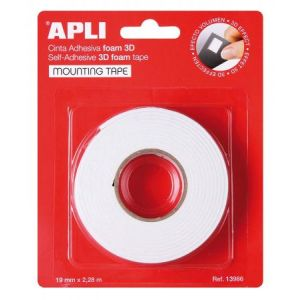 APLI 13986 - Ruban mousse 3D adhésif double face, 19mm x 2,28m