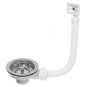 Wirquin Bonde de vidange à panier pour évier 1 bac, diamètre 90 mm avec trop plein rectangulaire - TYC