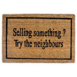 """Relaxdays Paillasson en fibres de coco avec inscription en anglais """"Selling something? try the neighbours"""" humour natte de sol essuie-pieds Lxl: 60 x 40 cm antidérapant PVC plancher accueil, marron - 4052025190118"""