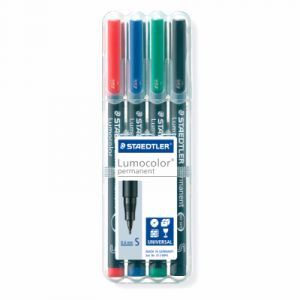 Staedtler 313WP4 - Pochette de 4 feutres Lumocolor permanent 0,4mm coloris assortis.