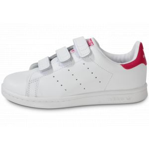 Adidas Stan Smith vl cuir Enfant-30-Blanc + Rose