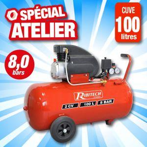 Ribitech Compresseur électrique 2 cv à huile 100 Litres