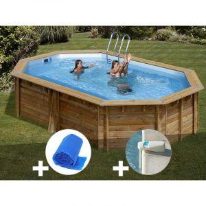 Sunbay Kit piscine bois Cannelle 5,51 x 3,51 x 1,19 m + Bâche à bulles + Alarme