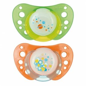 Chicco 2 sucettes Physio Air lumineuse en silicone (4 mois +)