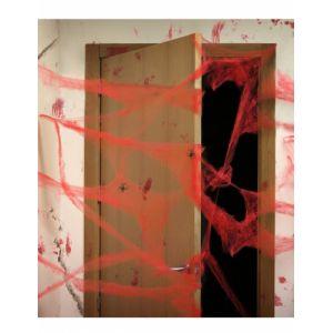 Atosa Décoration toile d'araigné rouge avec araignées 20 g Halloween Taille Unique