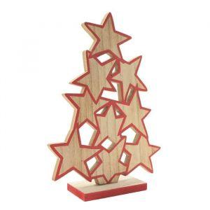 Blachère illumination Sapin Etoiles en bois à poser - H 23 cm - Bois naturel et rouge