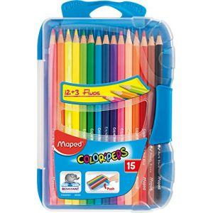 Maped Boîte Plastique de 15 Crayons de Couleur Color'peps