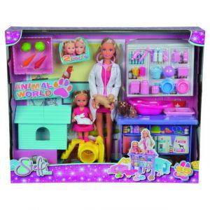 Simba Toys Steffi Love vétérinaire avec Evi + 4 animaux et accessoires