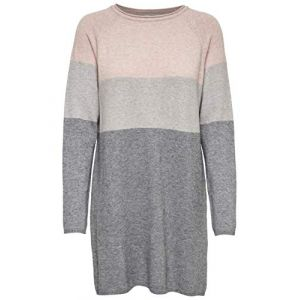 Only NOS Onllily L/s Dress KNT Noos Robe, Multicolore (Mahogany Rose Detail:W Light Medium Grey Melange), 44 (Taille Fabricant: X-Large) Femme