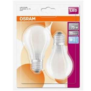 Osram Lot de 2 Ampoules LED E27 standard dépolie 8 W équivalent a 75 W blanc froid - Culot : E27 - Puissance : 8 W - Equivalence : 75 W - Flux lumineux : 1055 Lm.