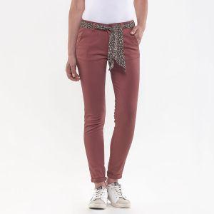 Le Temps des Cerises Pantalon chino avec ceinture tissu imprimé Vieux Rose - Taille 24(34);25(34/36);26(36);27(36/38);28(38);29(38/40);30(40);31(40/42)