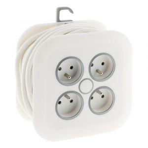 Zenitech Enrouleur domestique 4x16AFiche ExtraplateCâble 3G1mm² Longueur 7m Blanc