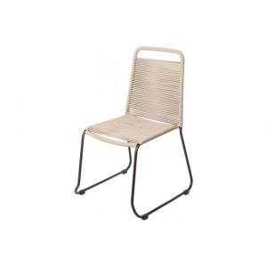 Declikdeco Chaise de Jardin Empilable Corde Beige ANDRE