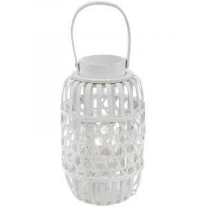 "Atmosphera Lanterne Design en Rotin ""Océan"" 31cm Blanc"