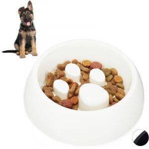Relaxdays Gamelle Anti glouton, chien manger lentement bol croquette chat, aliment digestion, blanc
