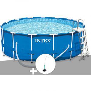 Intex Kit piscine tubulaire Metal Frame ronde 4,57 x 1,22 m + Douche solaire