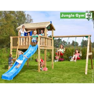 Trigano Jungle Gym Jungle Playhouse XL 2-Swing X'tra - Maisonnette bois