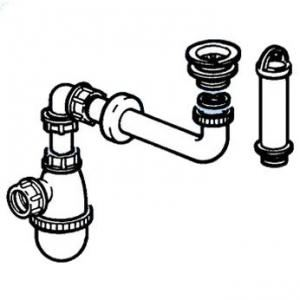 Allia 00029100017 - Bonde à surverse avec siphon décalé pour lavabos PARACELSUS