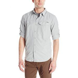 Columbia Chemise de Randonnée Longues Manches Homme, Silver Ridge Long Sleeve Shirt, Nylon, Gris Grey, Taille: S, AM7453