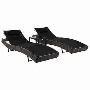 VidaXL Chaise longue 2 pcs avec table Résine tressée Marron et noir
