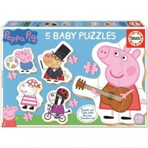 Educa Baby puzzle : 5 puzzles de 3 à 5 pièces : Peppa Pig