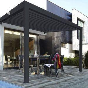 Pergola adossée aluminium gris anthracite 12 m²